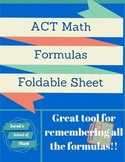 ACT Math Formulas Foldable-Great resource for teaching ACT