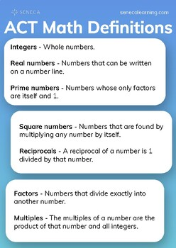 ACT Math Info Sheet - Definitions of Numbers