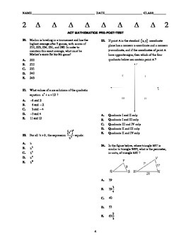 ACT Math Pre- Post Test