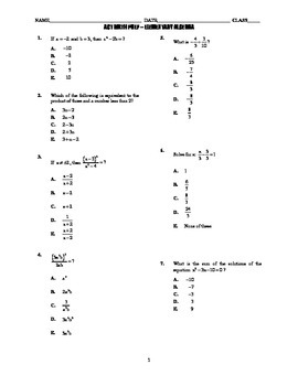 ACT Math Prep Assessment - Elementary Algebra ONLY