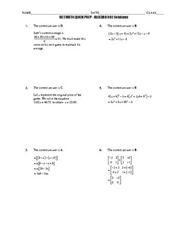 ACT Math Quick Prep Algebra Only BUNDLE 001-050