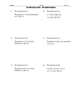 ACT Math Quick Prep - Factoring
