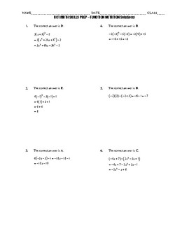 ACT Math Quick Prep - Function Notation