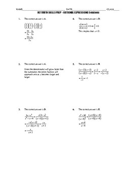 ACT Math Quick Prep - Rational Expressions