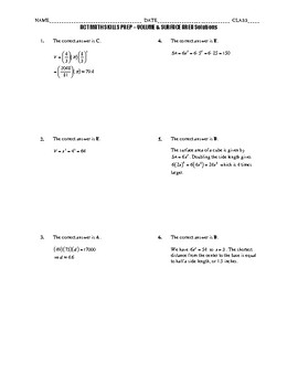ACT Math Quick Prep - Volume and Surface Area