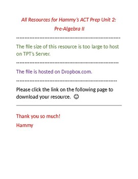 ACT PREP: Unit 2: Pre-Algebra II