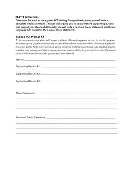 ACT Persuasive Writing Practice DAY 1