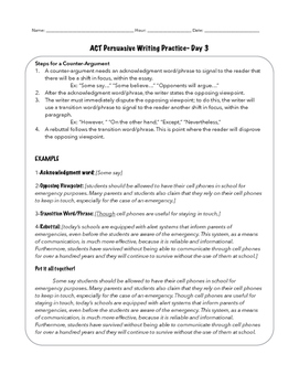 ACT Persuasive Writing Practice DAY 3