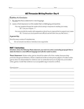 ACT Persuasive Writing Practice DAY 4
