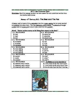 Aesop ~ Bear and the Fox Fable: Common Core ACT Practice Activity!