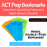 ACT Prep Bookmark - Important Dates Reminder and Night Bef