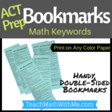 ACT Prep Bookmark - Math Keywords for the ACT