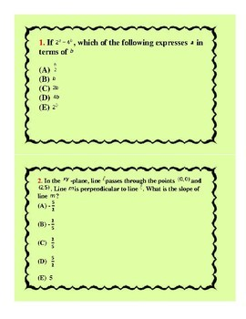 ACT Prep Math Trivia Cards