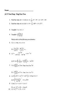 ACT Prep Trigonometry Packet #2
