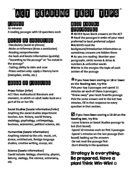 ACT Reading One-Page Test Tip Sheet