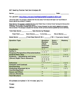 ACT Reading Practice Test Item Analysis #2