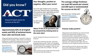ACT Reading Test:  Did You Know?  Research Based Advice for Test Success Handout