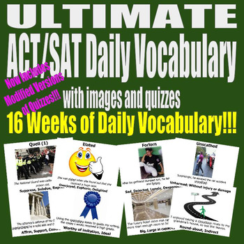 ACT / SAT Daily Vocabulary UltimateBundle w Images Quizzes Modifications 16 Week