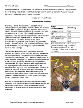 ACT Science Practice Worksheet Genetics Antler Inheritability