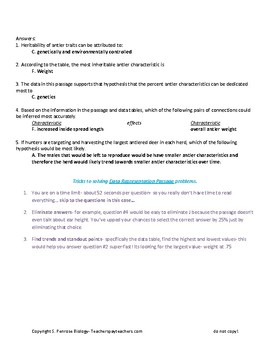 ACT Science Practice Worksheet Genetics Antler Inheritability