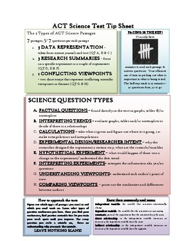 ACT Science Test Tip Sheet