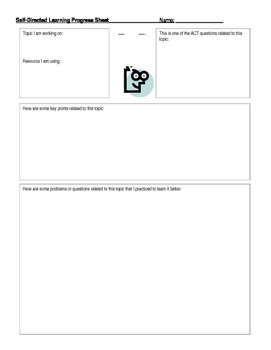 ACT Self Directed Learning Progress Sheet