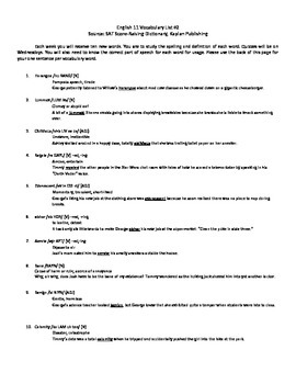 ACT Test Prep Vocabulary for students