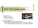 ACT Test Taking Hints