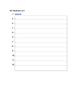 ACT Vocabulary List 2