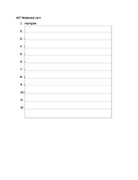 ACT Vocabulary List 4