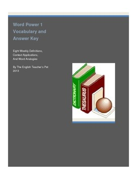 ACT Vocabulary Word Power 1 worksheet and Answer Key