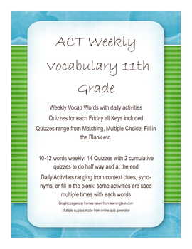 ACT Weekly Vocabulary with activities and quizzes