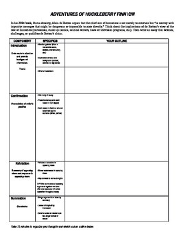 ACT Writing Practice: Huck Finn In-Class Essay with Graphic Organizer