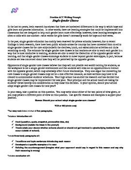 ACT Writing Practice Persuasive Essay: Single-Gender Classes
