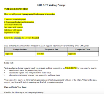 ACT Writing Prep - Perspectives Project