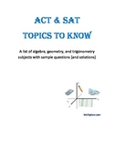 ACT and SAT (math) topics to know