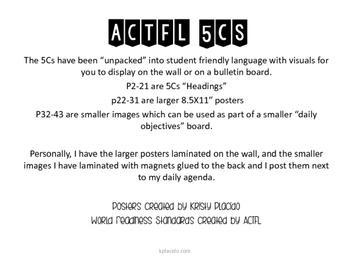 SPANISH ACTFL 5Cs student-friendly posters