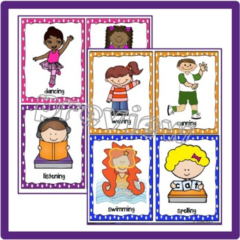 ACTION VERBS Conversation Cards for ELL Students: Oral Test Prep & Intervention