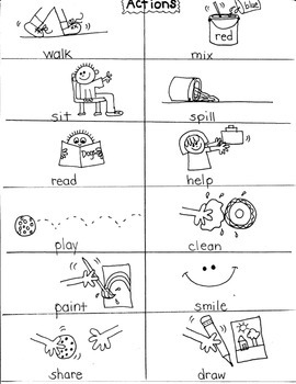 ACTION WORDS/VERBS for FIRST GRADE ARTISTS