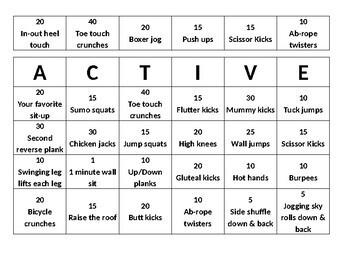 ACTIVE Bingo Fitness Activity