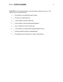 ACTIVE vs. PASSIVE grammar lesson handout/worksheet with answers