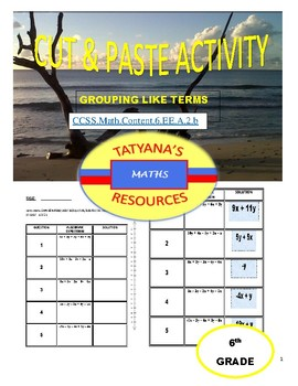 CUT & PASTE ACTIVITY - Grouping like terms