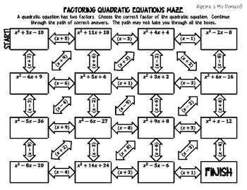 INB ACTIVITY MAZES - Algebra - Factoring Quadratics
