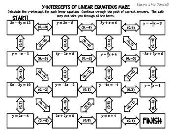 ACTIVITY MAZE INB - X- & Y-Intercepts of Linear Equations