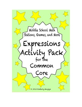 ACTIVITY PACK Expressions Math Stations for Common Core Sixth Grade