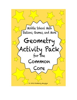 ACTIVITY PACK Geometry Math Stations for Common Core Sixth Grade