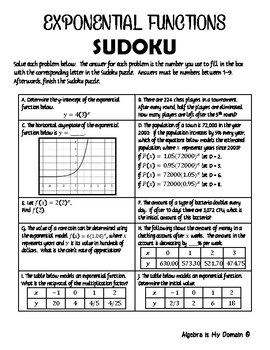 ACTIVITY / SUDOKU PUZZLE - Exponential Functions