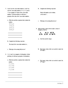 ACTIVITY for Patterns and Inductive Reasoning