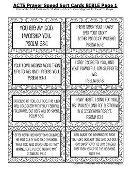 ACTS Prayer Format: Worksheets, Activity, and Project