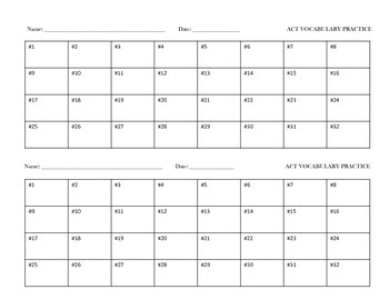 ACT/SAT Vocabulary Context Clues Task Cards